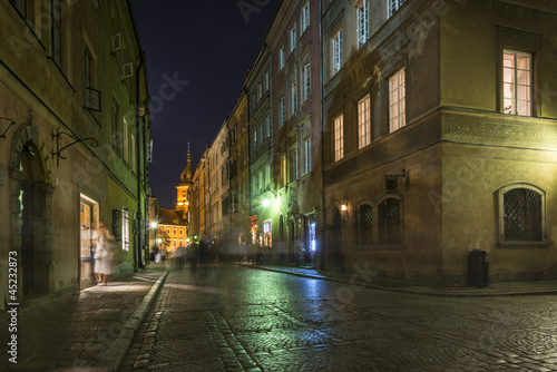 Warsaw's Old Town street at historic district #45232873