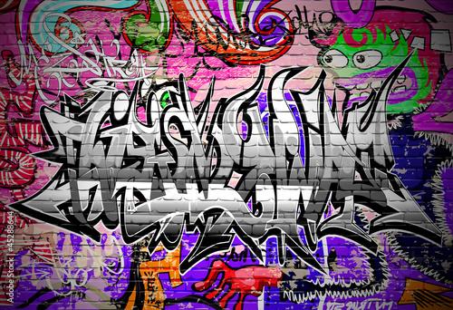 Graffiti vector art. Urban wall with spray paint