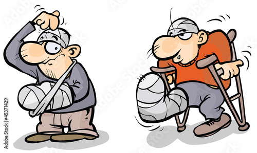 Leinwand Poster Two Cartoon men in plaster.