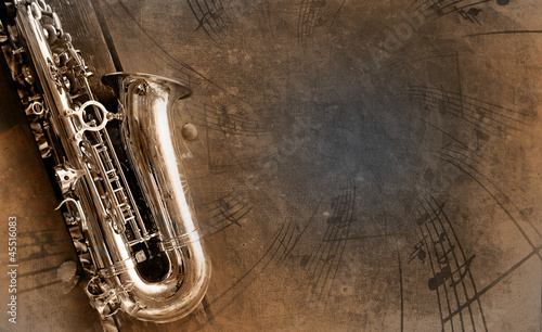 Stampa su Tela Old Saxophone with dirty background