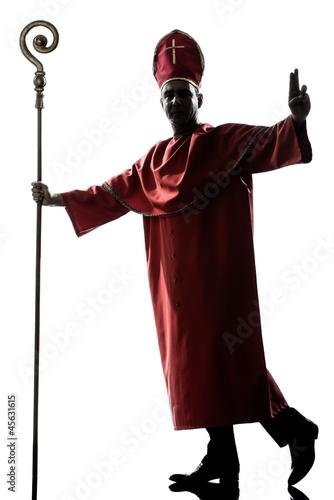 Canvastavla man cardinal bishop silhouette saluting blessing