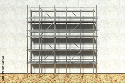 Canvas Print 3d scaffolding and renovated wall
