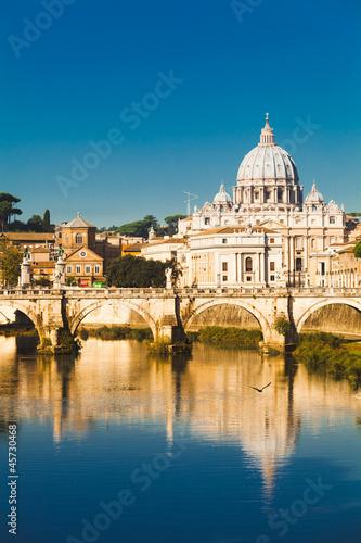St Peters basilica and river Tiber, Rome Fototapeta