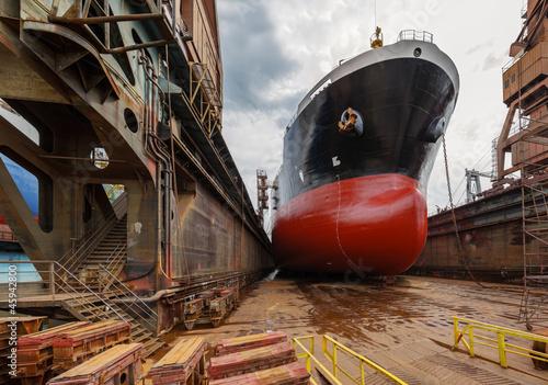 A large tanker in shipyard Gdansk, Poland. Fototapet