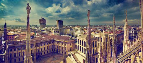 Fototapeta premium Mediolan, Włochy. Panorama miasta. Widok na Pałac Królewski