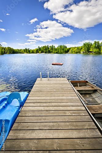 Fotografia, Obraz Dock on lake in summer cottage country