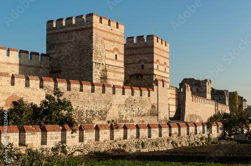 Obraz na płótnie City walls of Istanbul after partial restoration