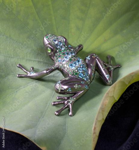Photo An elegant brooch designed in frog shape on lotus leaf