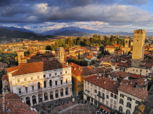 Canvas Print Bergamo, view from city hall tower, Lombardy, Italy