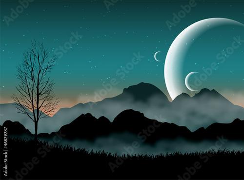 Nocne niebo SF z sylwetkami gór i bliskimi planetami