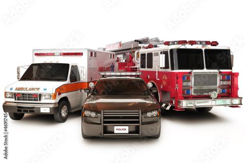 Carta da parati First responder vehicles, on a  white background