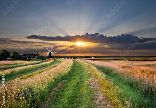 Obraz na płótnie windmill pump on Bure marshes of  norfolk broads england, uk