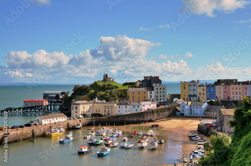 Canvas Print View of Tenby Harbour, with Castle Hill.
