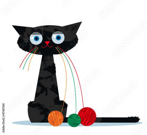 Fototapeta premium Kot kreskówka i nić Ariadny przędzy