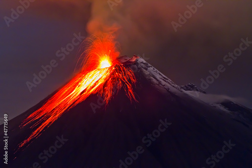 Photo eruption of the volcano with molten lava