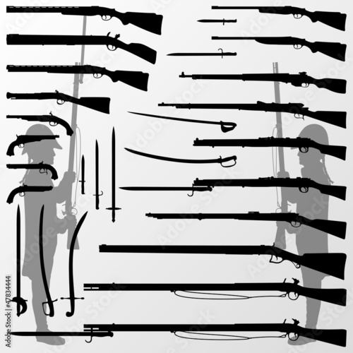 Obraz na plátně Vintage old war and hunting weapons, rifles, guns, swords and so