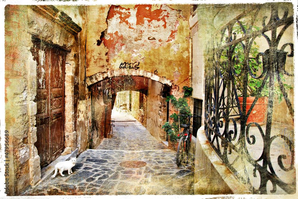 obrazowe stare ulice Grecji, Kreta <span>plik: #47956689 | autor: Freesurf</span>
