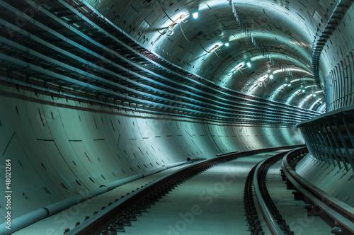 Valokuvatapetti Underground tunnel with blue lights