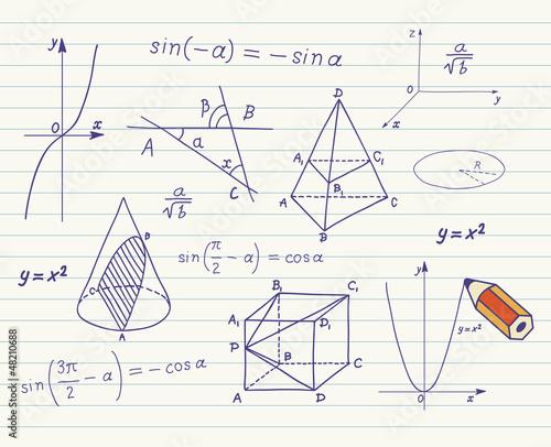Photo Mathematics sketches on school board