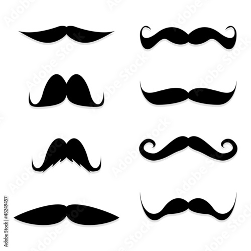 Cuadros en Lienzo Set mustache on white background