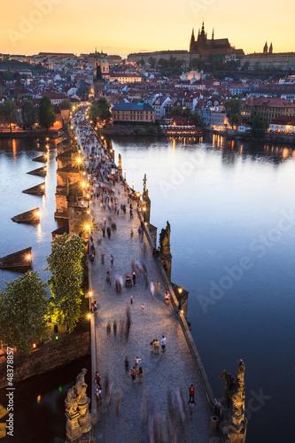 Canvas Print View of Vltava river with Charles bridge in Prague