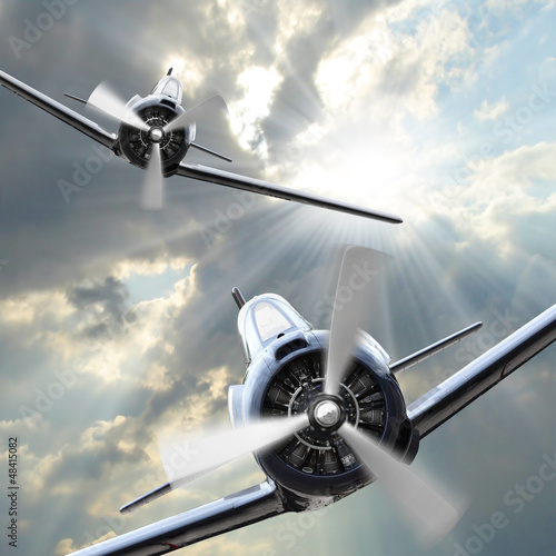 Canvas Print The Fighters. Retro technology theme.