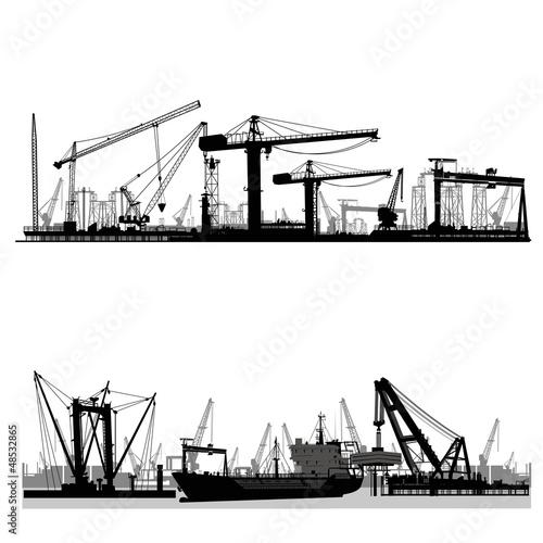 Photo Shipyard, harbor skyline vector silhouette