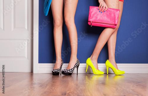 Fotografie, Tablou Two girls wearing high heels waiting at the door