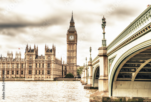 The Big Ben, the House of Parliament and the Westminster Bridge #48890801
