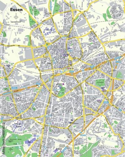 Fotografie, Obraz Citymap Essen