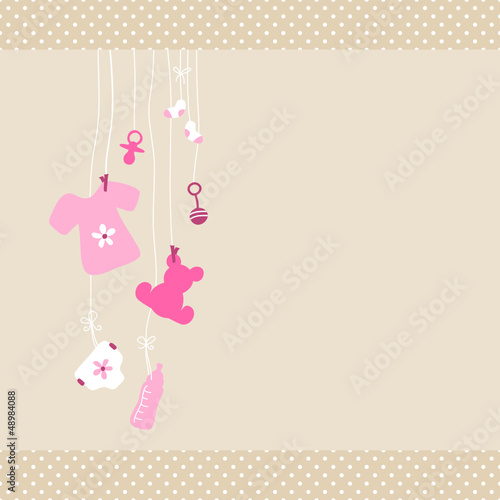 Card Baby Symbols Shirt Girl Dots Border Beige #48984088