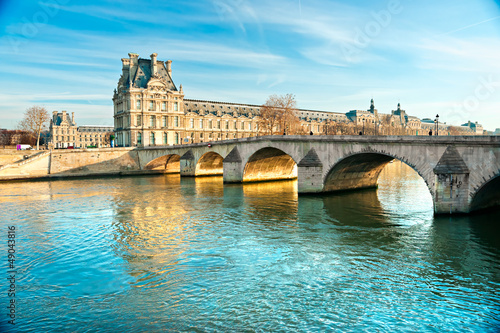 Canvas Print Louvre Museum and Pont du Carousel, Paris - France