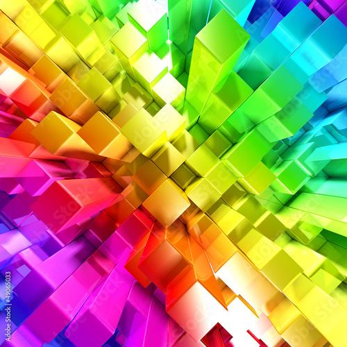 Tęcza kolorowych bloków