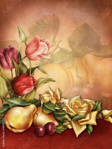 Tło retro z tulipanami, różami, gruszkami i wiśniami