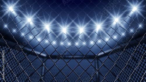 Slika na platnu MMA cage and floodlights