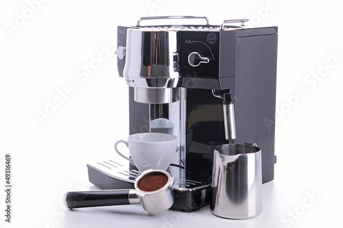 Leinwand Poster coffeemaker and cup