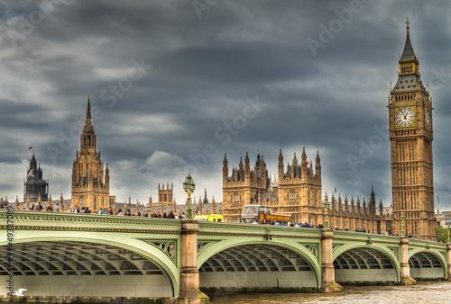 London. Wonderful view of Westminster bridge with Big Ben and Ho #49387089