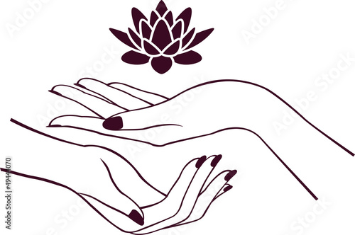 Hands with lotus #49444070