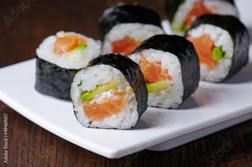 Valokuvatapetti sushi with salmon and avocado