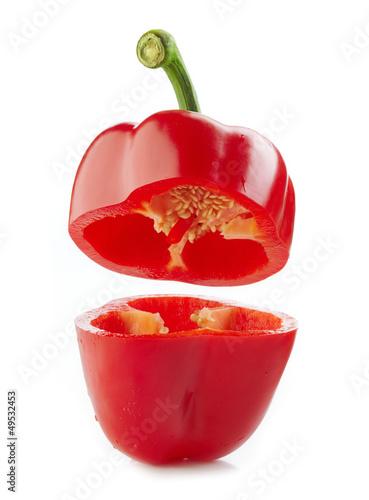Canvastavla fresh red half paprika