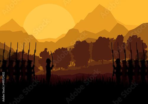 Stampa su Tela Vintage old civil war battle field warfare soldier troops and ar
