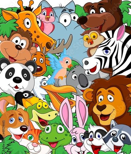Fototapeta premium Zwierzęcy kreskówki tło