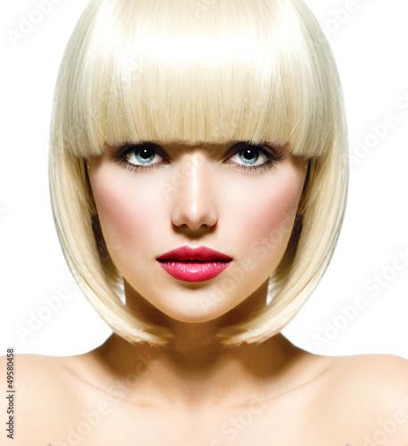 Cuadros en Lienzo Fashion Stylish Beauty Portrait. Beautiful Girl's Face Close-up