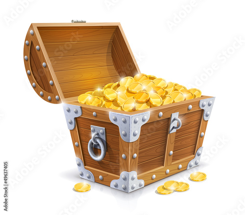 Fotografie, Obraz vintage wooden chest with golden coin vector illustration