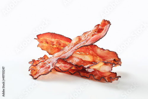 Fried bacon strips