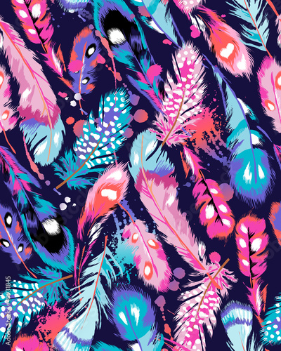 beautiful feather vector seamless background
