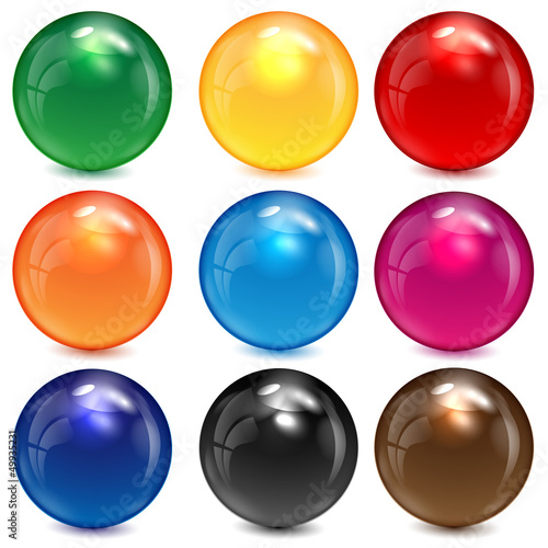 set of colored spheres on a white background Fototapeta