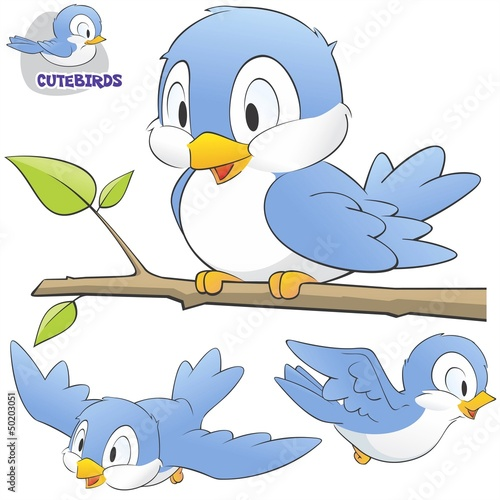 A Set of Cute Cartoon Birds #50203051