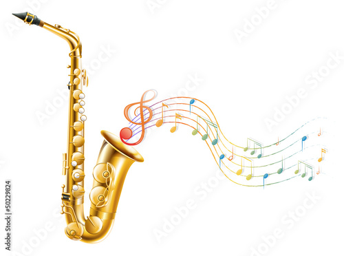 Photo A golden saxophone with musical notes