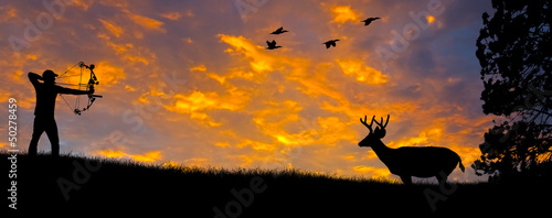 Bow Hunting Silhouette